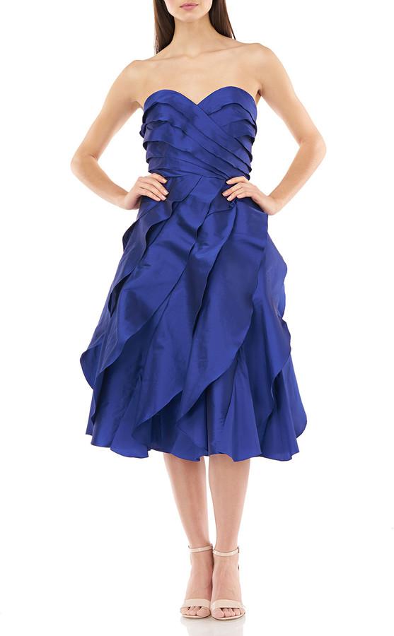 Carmen Marc Valvo Strapless Multi Tiered Taffeta Party Dress