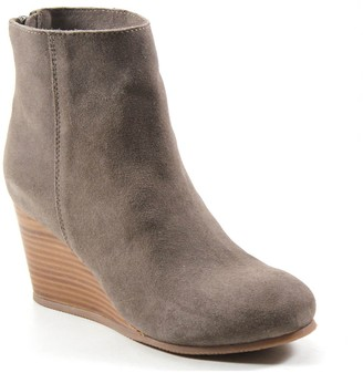 Diba True Round-Toe Leather Wedge Bootie - NowWow