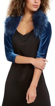 Tahari ASL Velvet Faux-Fur-Collar Shrug Jacket, Created for Macy's