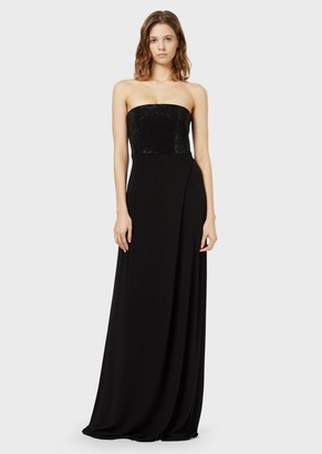 Emporio Armani Long Dress With A Gemstone Bustier