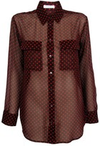 Equipment Signature Sheer Angelica Hearts Blouse | Wine