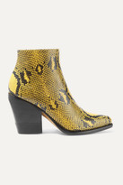 Chloé Rylee Snake-effect Leather Ankle Boots - Mustard