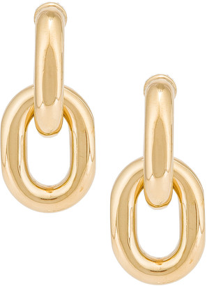 Paco Rabanne Hanging Hoop Earrings in Light Gold | FWRD