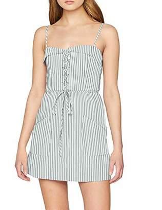 NEON COCO Women's Stripe Lace Up Front Spaghetti Strap Mini Dress Black (Negro C28), Medium