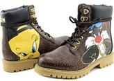 Moschino Looney Tunes Work Boots Round Toe Leather Ankle Boot.