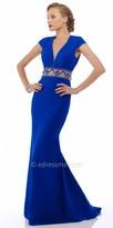 Nika Illusion Zig Zag Waist Evening Dress