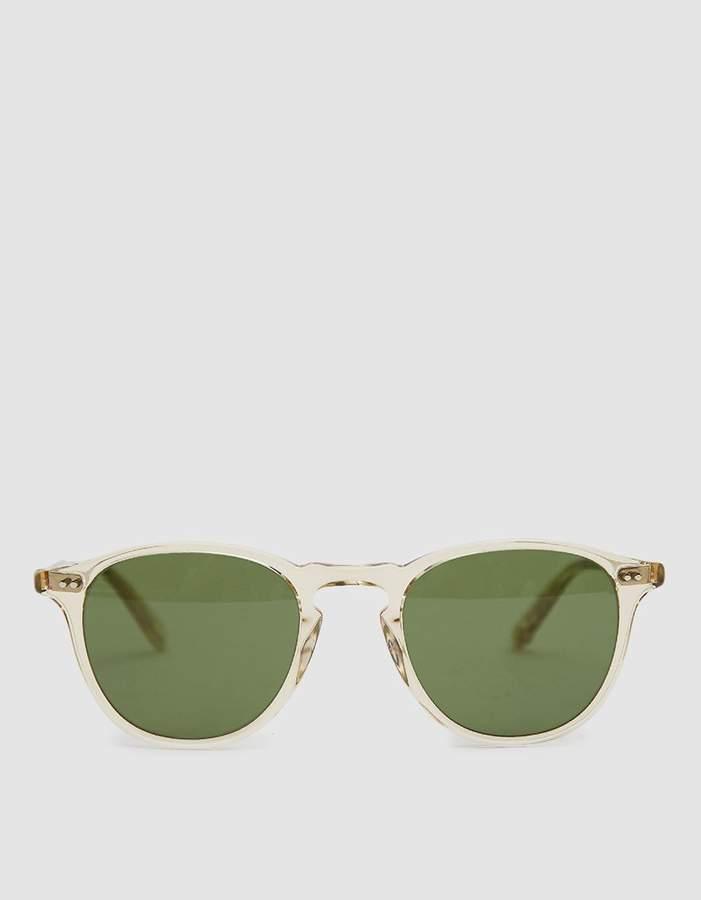 Garrett Leight Hampton Horn-Rim Sunglasses in Champagne / Pure Green