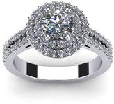 Ice 1 1/2 CT TW Diamond 14K White Gold Vintage Inspired Dual Halo Engagement Ring