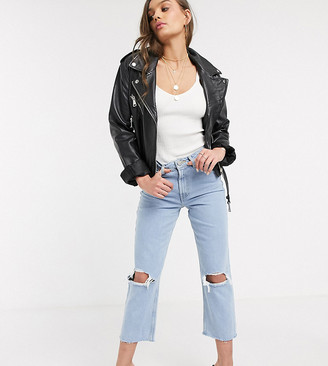 ASOS DESIGN Petite Recycled Florence authentic straight leg jeans in bright lightwash blue with rips and raw hem