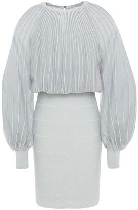 Herve Leger Metallic Ribbed-knit Paneled Bandage Mini Dress