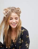 Asos Nude Faux Leather Floral Garland Headband