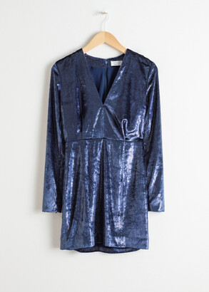And other stories Shimmer Velvet Mini Dress