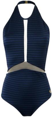 BRIGITTE Sheer Panel Halterneck Swimsuit