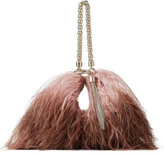 Jimmy Choo CALLIE Blush and Toffee Degrade Ostrich Feather-Trimmed Leather Clutch Bag