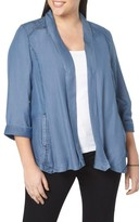 Evans Plus Size Women's Chambray Open Front Jacket