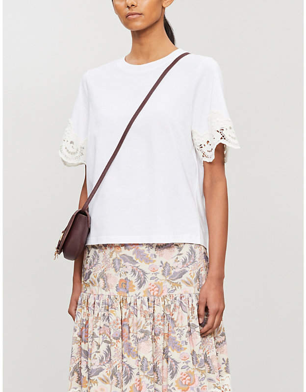 b3cf1c4c Floral lace-embroidered cotton-jersey T-shirt