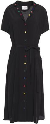 HVN Maria Belted Embroidered Crepe Shirt Dress