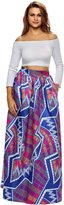 Dear-Queen Women's African Printed Pleated Maxi Skirt High Waist A Line Dress DQ65008PU-M