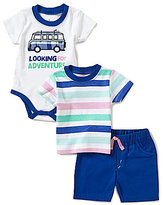 Baby Starters Baby Boys 3-12 Months Looking For Adventure Bodysuit, Striped Tee & Shorts Set