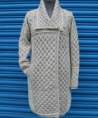 West End Knitwear Women's Cardigans OATMEAL - Oatmeal Plaited Merino Wool One-Button Cardigan - Women