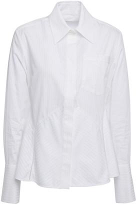 Victoria Victoria Beckham Striped Cotton-jacquard Peplum Shirt