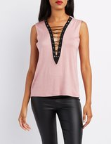 Charlotte Russe Lace-Up Muscle Tank Top
