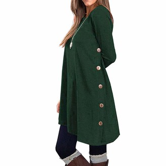 WAOTIER Top Dresses Womens Long Sleeve Cozy Baggy Jumper Tunic Dress Casual Knitted Button Pullover Sweatshirts Tops Blouse Autumn Winter Pullover Button Plus Size T Shirt Dresses Green