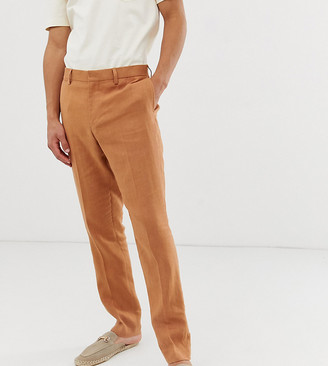 Noak slim fit suit pants in camel linen-Blue