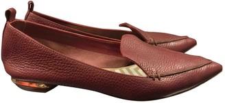 Nicholas Kirkwood Burgundy Leather Flats