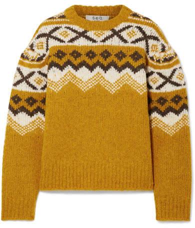 Sea Fair Isle Knitted Sweater - Saffron
