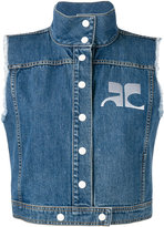 Courreges logo denim gilet - women - Cotton - 36