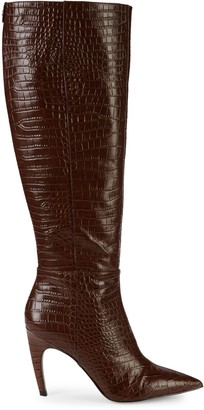 Sam Edelman Fraya Croc-Embossed Leather Knee-High Boots