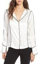 Line & Dot Women's Dita Contrast Piping Satin Shirt
