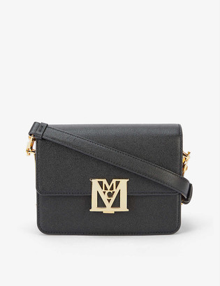 MCM Mena Visetos mini logo-buckle leather shoulder bag