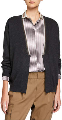 Brunello Cucinelli Cashmere Two-Tone Monili Cardigan Sweater