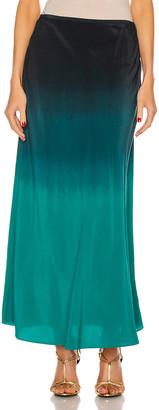 Rixo Kelly Skirt in Dip Dye Teal Blue   FWRD