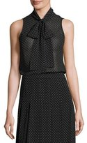 MICHAEL Michael Kors Sleeveless Tie-Neck Polka-Dot Blouse, Black
