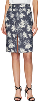 L'Agence Printed Pencil Skirt with Slit