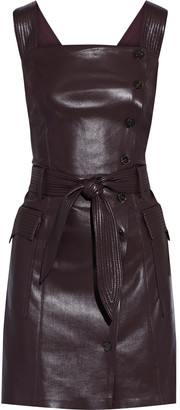Nanushka Charo Belted Shirred Vegan Leather Mini Dress