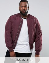 Asos PLUS Bomber Jacket With MA1 Pocket In Burgundy