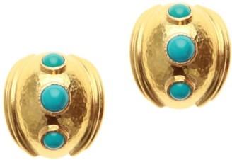 Elizabeth Locke Stone Sleeping Beauty Turquoise 18K Gold Small Puff Earrings