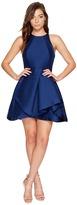 Halston Sleeveless High Neck Structured Dress w/ Tiered Skirt Women's Dress