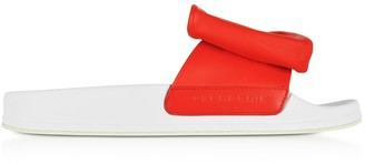 Clergerie Wendy Blood Orange Leather Slide Sandals W/white Sole