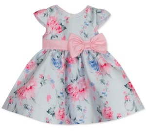 Rare Editions Baby Girls Floral-Print Mikado Fit & Flare Dress