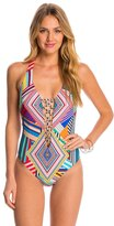 Red Carter Mediterranean Vacation Plunge Lace Up One Piece Swimsuit 8145700
