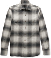 Tom Ford - Slim-fit Cutaway-collar Checked Cotton-flannel Shirt