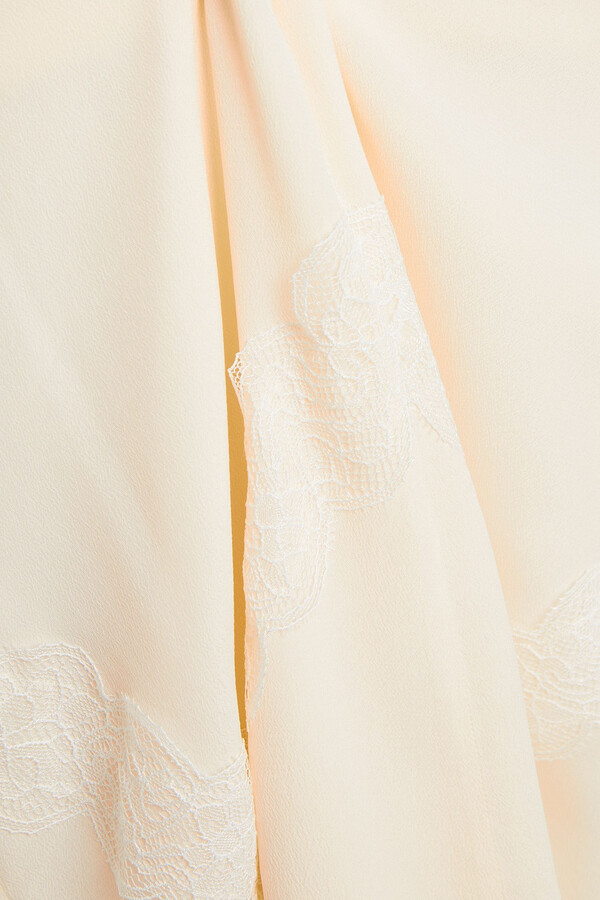 Thumbnail for your product : See by Chloe Crepe De Chine And Corded Lace Midi Skirt