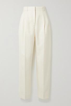 CASASOLA Net Sustain Organic Wool, Silk And Linen-blend Straight-leg Pants - Cream