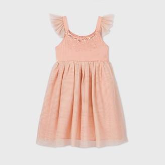 Cat & Jack Girls' Satin Flutter Sleeve Tulle Dress - Cat & JackTM Blush