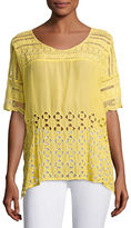 Johnny Was Diamond Eyelet Georgette Top